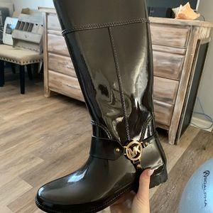 Dark brown Michael Kors rain boots